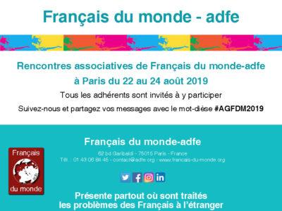 Rencontres associatives de Français du monde-adfe à Paris du 22 au 24 août 2019